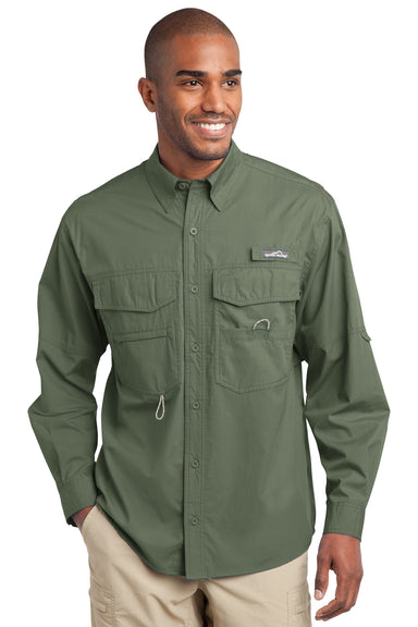 Eddie Bauer EB606 Mens Fishing Long Sleeve Button Down Shirt w/ Double Pockets Seagrass Green Front