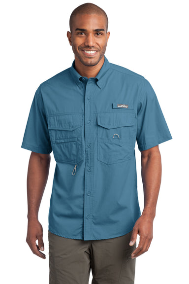 Eddie Bauer EB608 Mens Fishing Short Sleeve Button Down Shirt w/ Double Pockets Blue Gill Front