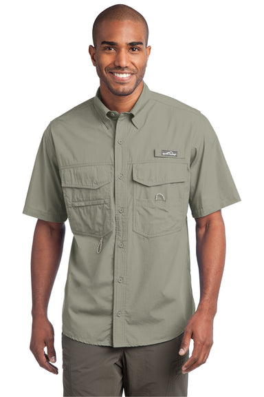 Eddie Bauer EB608 Mens Fishing Short Sleeve Button Down Shirt w/ Double Pockets Driftwood Front