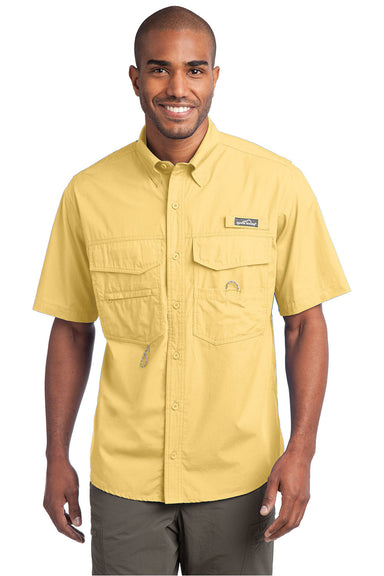 Eddie Bauer EB608 Mens Fishing Short Sleeve Button Down Shirt w/ Double Pockets Goldenrod Yellow Front