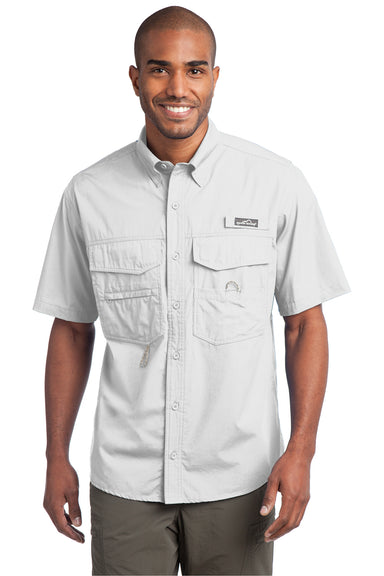 Eddie Bauer EB608 Mens Fishing Short Sleeve Button Down Shirt w/ Double Pockets White Front