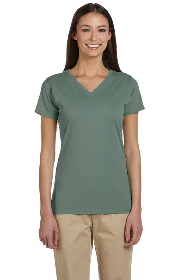 Econscious EC3052 Womens Short Sleeve V-Neck T-Shirt Blue Sage Front