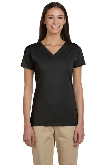 Econscious EC3052 Womens Short Sleeve V-Neck T-Shirt Black Front