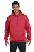 Hanes F170 Mens Ultimate Cotton PrintPro XP Hooded Sweatshirt Hoodie Red Front