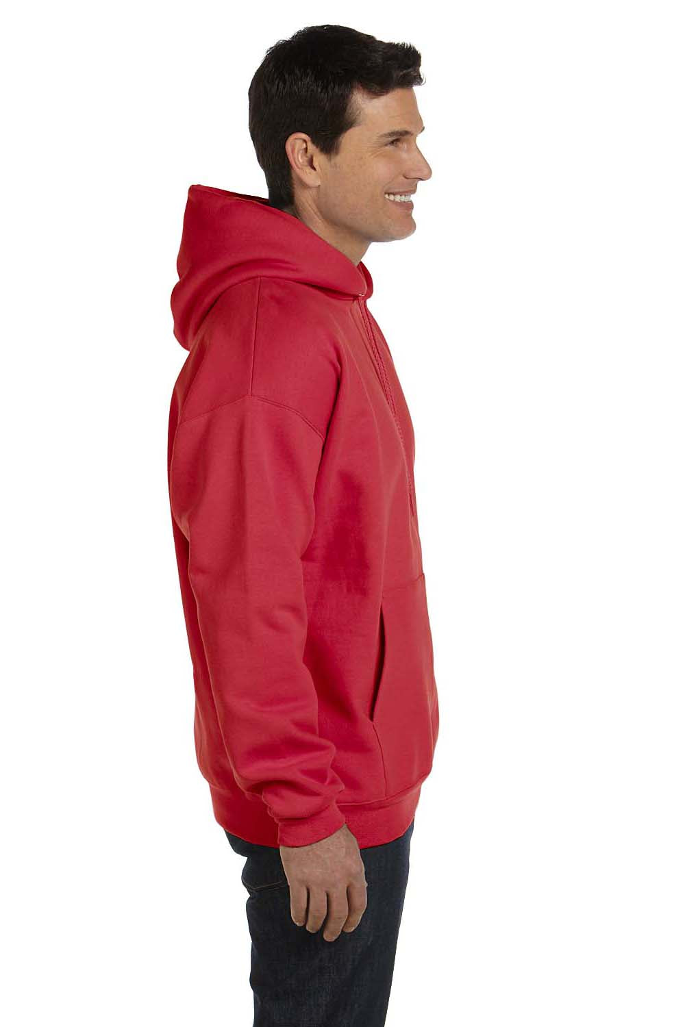 Hanes F170 Mens Ultimate Cotton PrintPro XP Hooded Sweatshirt Hoodie Red Side