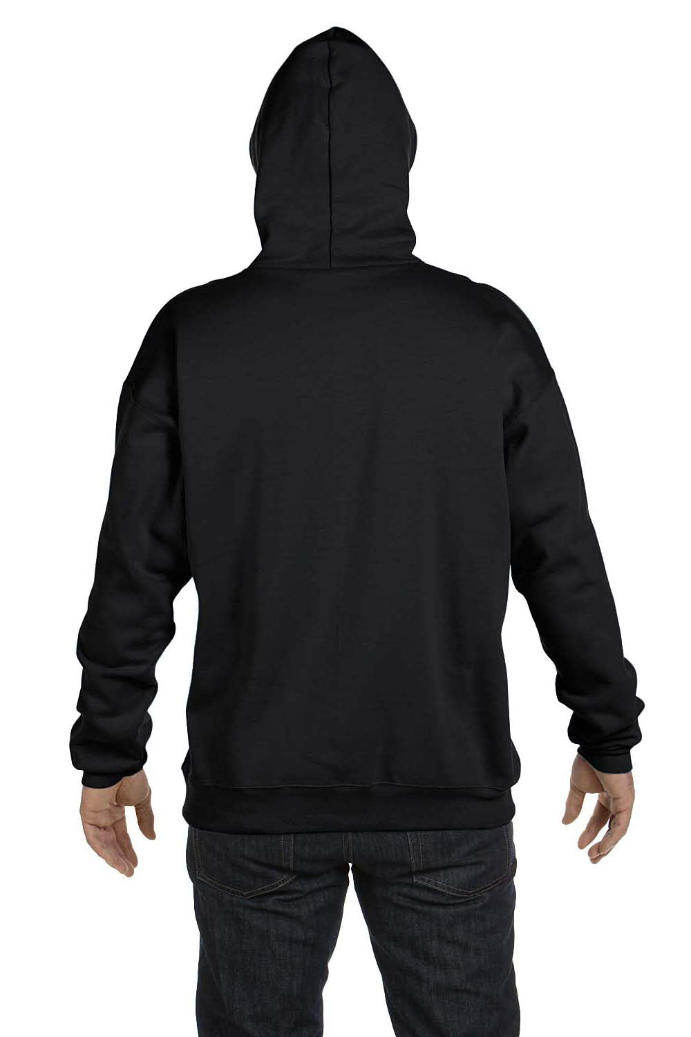 Hanes F170 Mens Ultimate Cotton PrintPro XP Hooded Sweatshirt Hoodie Black Back