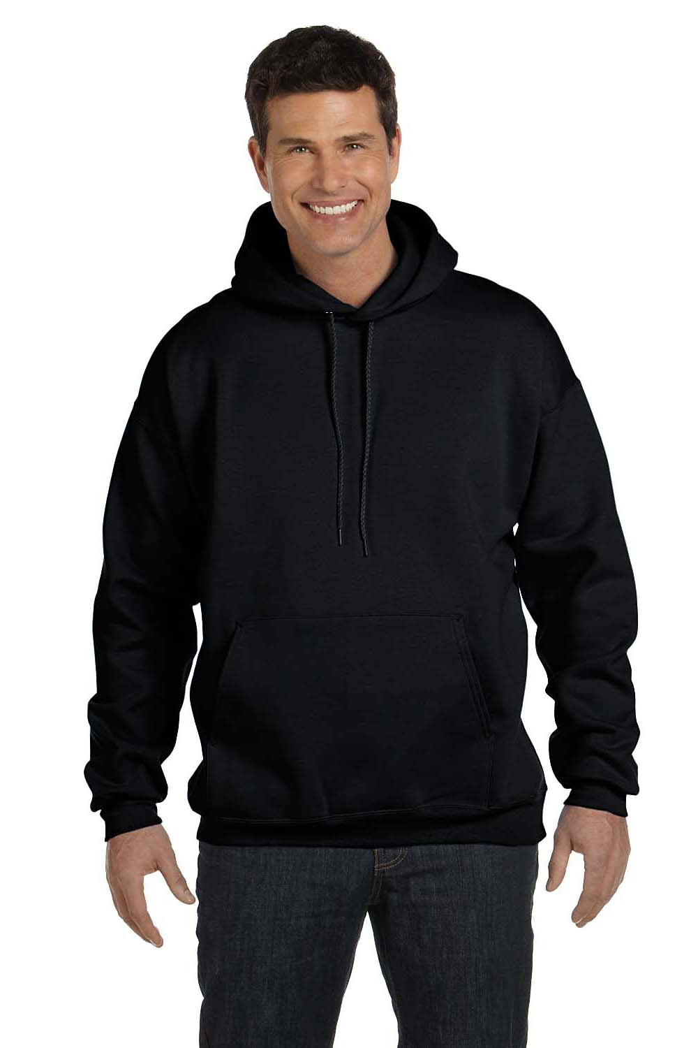 Hanes F170 Mens Ultimate Cotton PrintPro XP Hooded Sweatshirt Hoodie Black Front