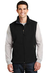 Port Authority F219 Mens Full Zip Fleece Vest Black Front