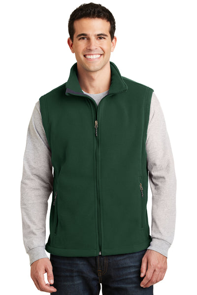 Port Authority F219 Mens Full Zip Fleece Vest Forest Green Front