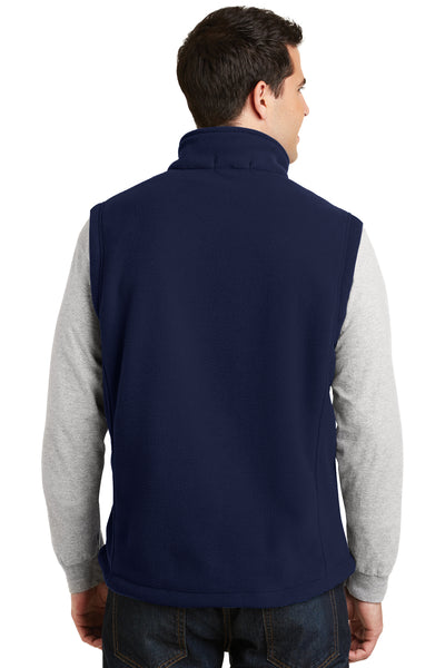 Port Authority F219 Mens Full Zip Fleece Vest Navy Blue Back