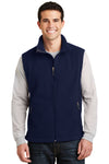 Port Authority F219 Mens Full Zip Fleece Vest Navy Blue Front