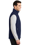 Port Authority F219 Mens Full Zip Fleece Vest Navy Blue Side