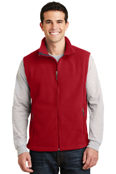 Port Authority F219 Mens Full Zip Fleece Vest Red Front