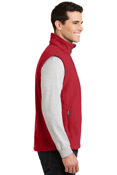 Port Authority F219 Mens Full Zip Fleece Vest Red Side