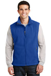 Port Authority F219 Mens Full Zip Fleece Vest Royal Blue Front