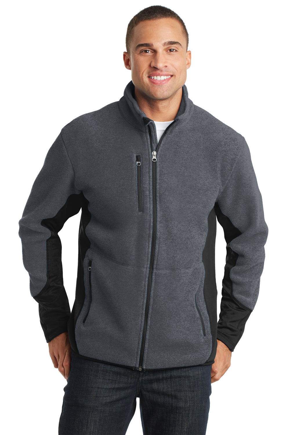 Port Authority F227 Mens R-Tek Pro Full Zip Fleece Jacket Heather Charcoal Grey/Black Front