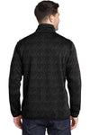 Port Authority F232 Mens Full Zip Sweater Fleece Jacket Heather Black Back