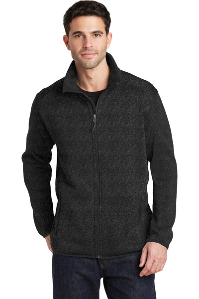 Port Authority F232 Mens Full Zip Sweater Fleece Jacket Heather Black Front