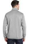 Port Authority F232 Mens Full Zip Sweater Fleece Jacket Heather Grey Back
