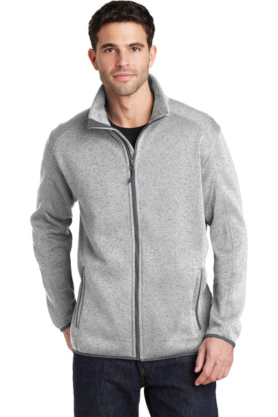 Port Authority F232 Mens Full Zip Sweater Fleece Jacket Heather Grey Front