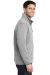 Port Authority F232 Mens Full Zip Sweater Fleece Jacket Heather Grey Side
