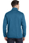 Port Authority F232 Mens Full Zip Sweater Fleece Jacket Heather Medium Blue Back