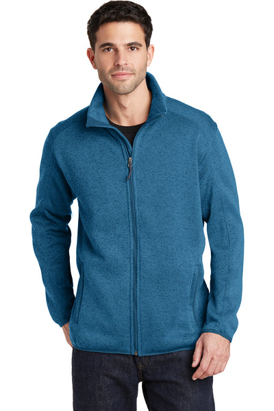 Port Authority F232 Mens Full Zip Sweater Fleece Jacket Heather Medium Blue Front