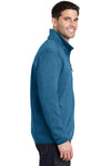 Port Authority F232 Mens Full Zip Sweater Fleece Jacket Heather Medium Blue Side
