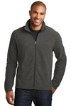 Port Authority F235 Mens Heather Microfleece Full Zip Sweatshirt Charcoal Black Front