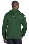 Sport-Tek F246 Mens Tech Moisture Wicking Fleece Hooded Sweatshirt Hoodie Forest Green/White Back
