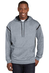 Sport-Tek F246 Mens Tech Moisture Wicking Fleece Hooded Sweatshirt Hoodie Heather Grey/Black Front
