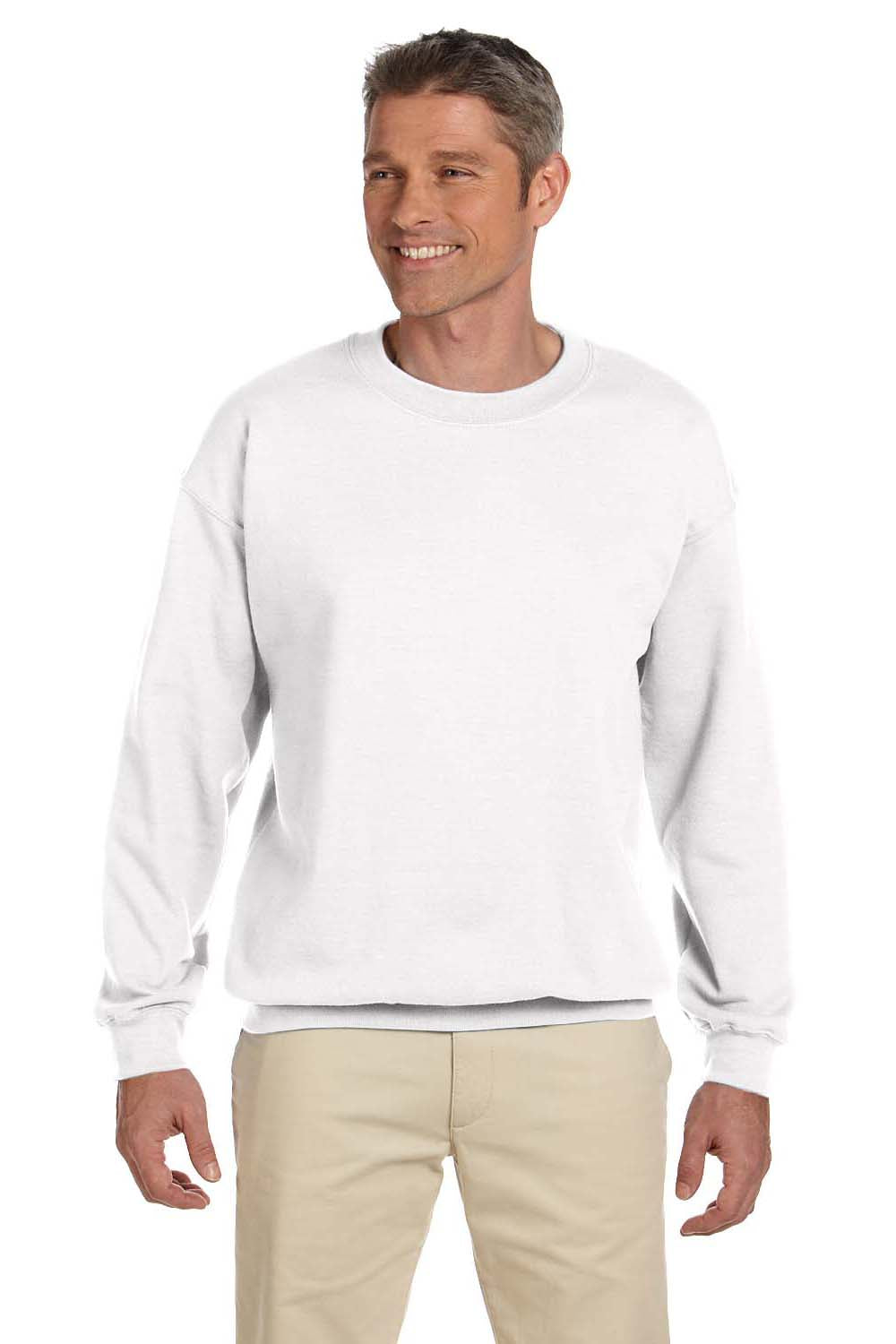 Hanes F260 Mens Ultimate Cotton PrintPro XP Crewneck Sweatshirt White Front