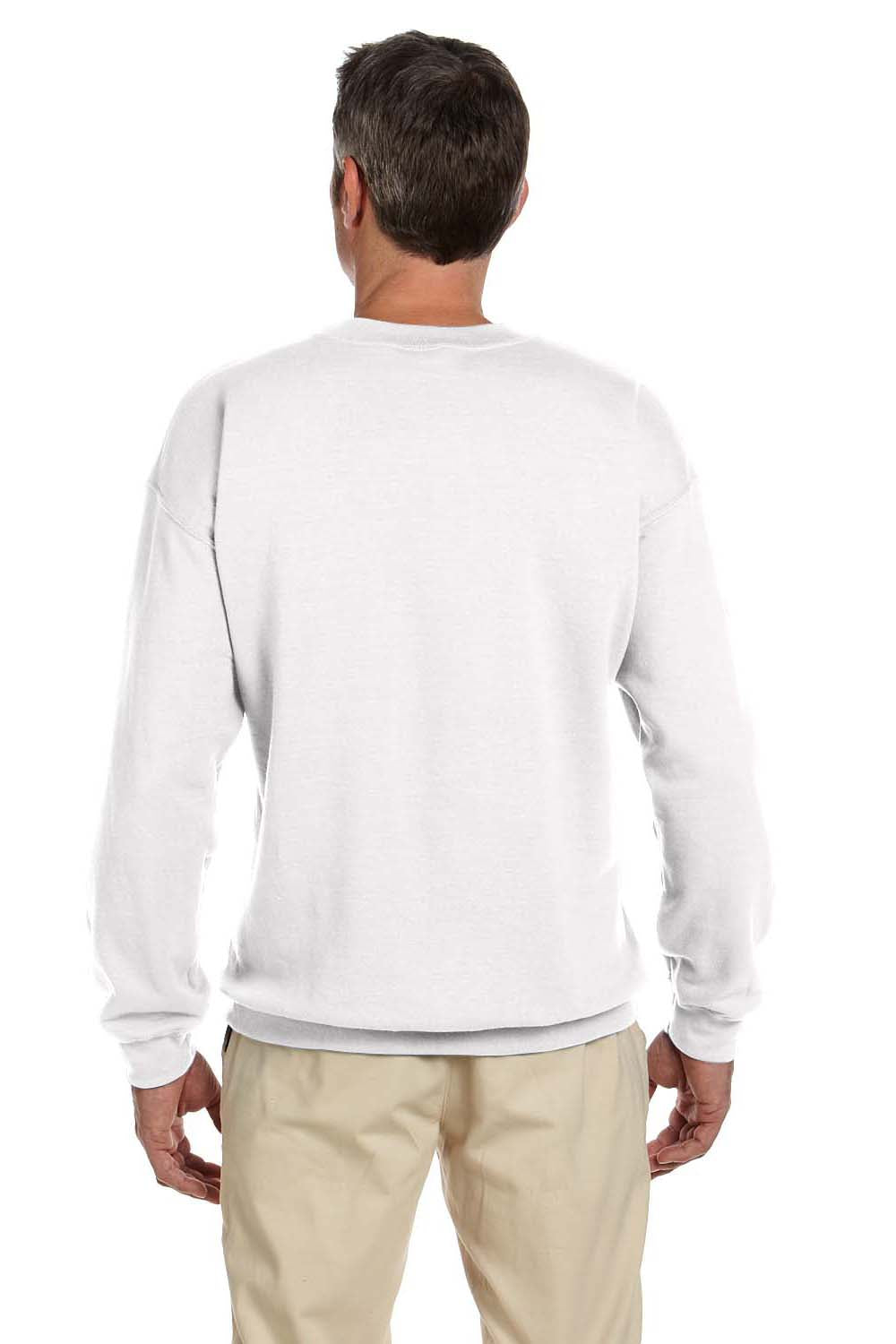 Hanes F260 Mens Ultimate Cotton PrintPro XP Crewneck Sweatshirt White Back