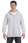 Hanes F280 Mens Ultimate Cotton PrintPro XP Full Zip Hooded Sweatshirt Hoodie Ash Grey Front