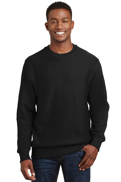Sport-Tek F280 Mens Fleece Crewneck Sweatshirt Black Front