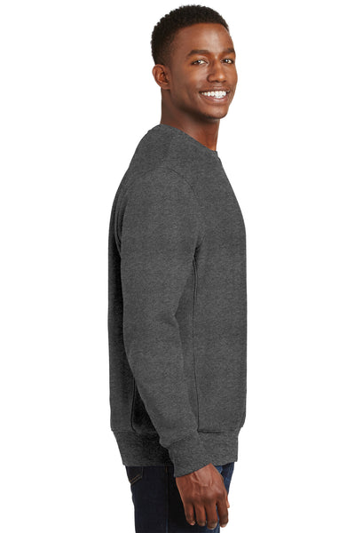 Sport-Tek F280 Mens Fleece Crewneck Sweatshirt Heather Graphite Grey Side