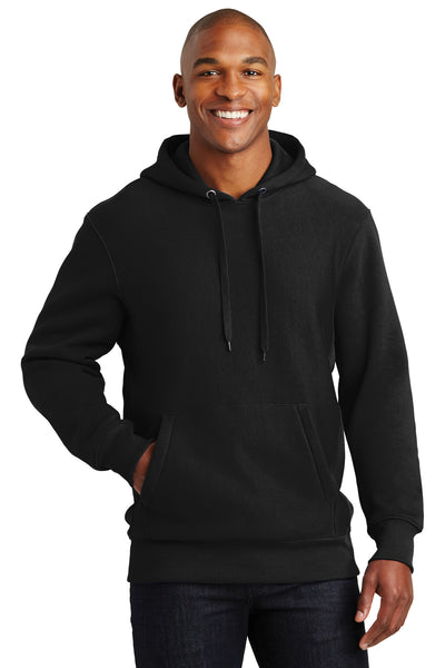 Sport-Tek F281 Mens Fleece Hooded Sweatshirt Hoodie Black Front