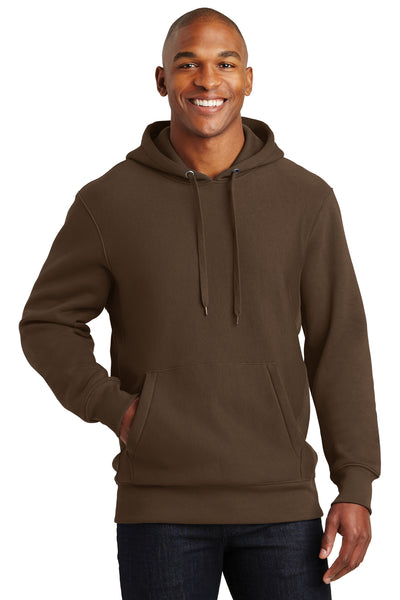 Sport-Tek F281 Mens Fleece Hooded Sweatshirt Hoodie Brown Front