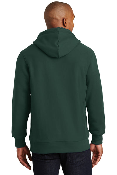 Sport-Tek F281 Mens Fleece Hooded Sweatshirt Hoodie Forest Green Back