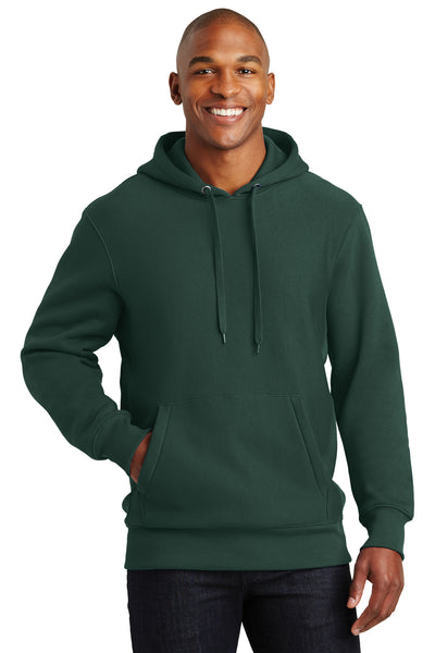 Sport-Tek F281 Mens Fleece Hooded Sweatshirt Hoodie Forest Green Front
