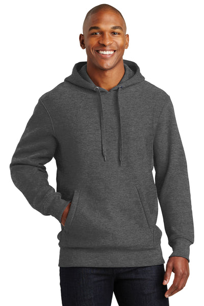 Sport-Tek F281 Mens Fleece Hooded Sweatshirt Hoodie Heather Graphite Grey Front
