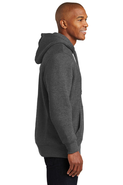 Sport-Tek F281 Mens Fleece Hooded Sweatshirt Hoodie Heather Graphite Grey Side