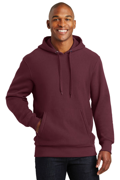 Sport-Tek F281 Mens Fleece Hooded Sweatshirt Hoodie Maroon Front