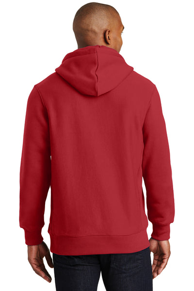 Sport-Tek F281 Mens Fleece Hooded Sweatshirt Hoodie Red Back
