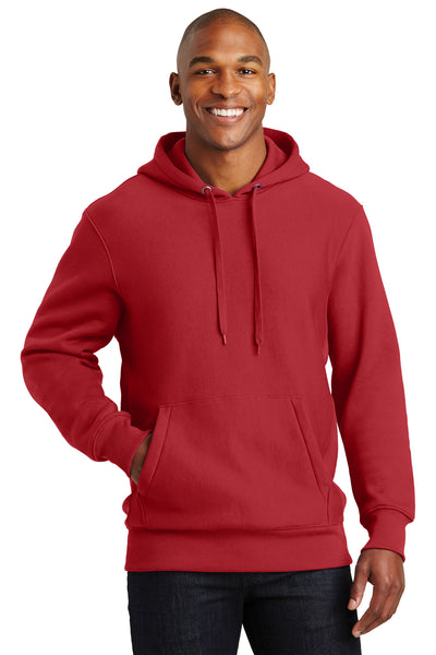 Sport-Tek F281 Mens Fleece Hooded Sweatshirt Hoodie Red Front