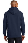 Sport-Tek F281 Mens Fleece Hooded Sweatshirt Hoodie Navy Blue Back