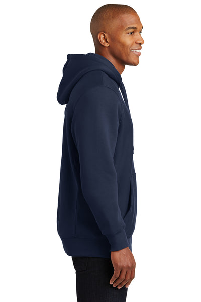 Sport-Tek F281 Mens Fleece Hooded Sweatshirt Hoodie Navy Blue Side