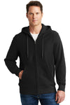 Sport-Tek F282 Mens Fleece Full Zip Hooded Sweatshirt Hoodie Black Front