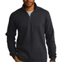 Port Authority Mens Slub Fleece 1/4 Zip Sweatshirt - Black