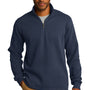 Port Authority Mens Slub Fleece 1/4 Zip Sweatshirt - Navy Blue